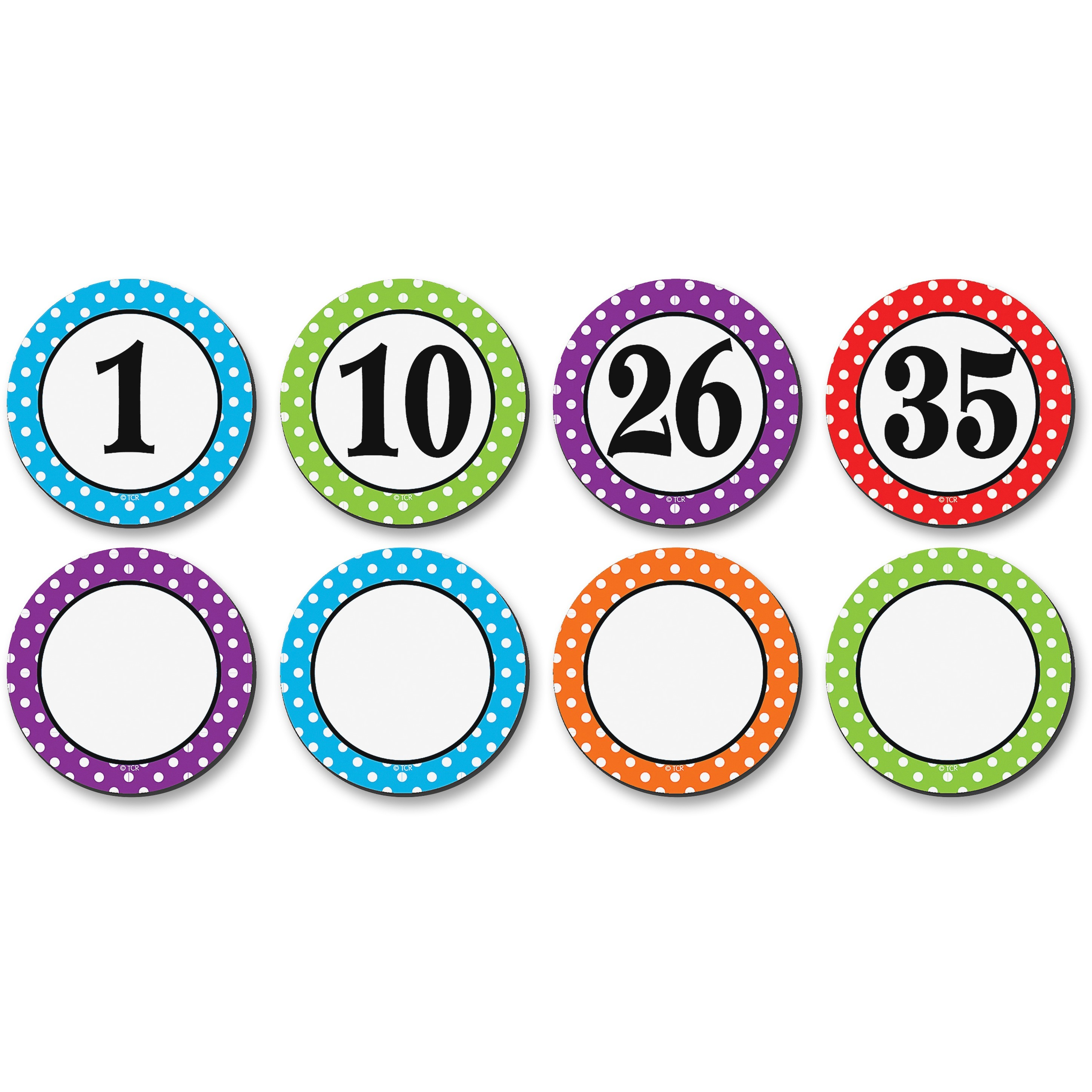 Teacher Created Resources Dots/Numbers Magnetic Accents, Multicolor, 42 / Set (Quantity)