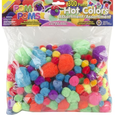 Pepperell Pom Poms, Assorted Hot Colors, 300-Pack (Pom Pom In Spanish)
