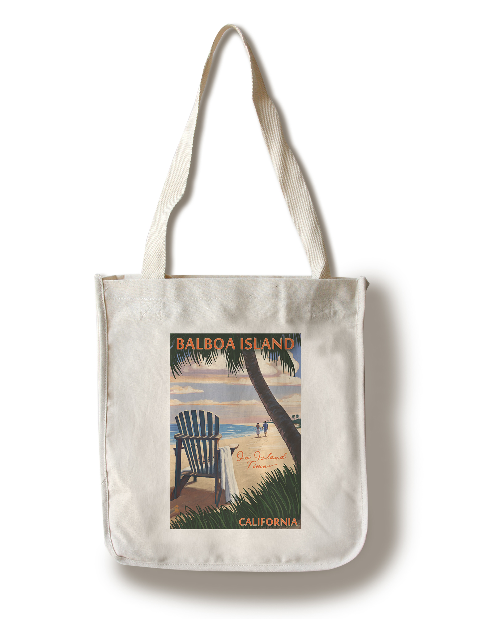 Balboa Island On Island Time Adirondack Chair on the Beach Lantern Press Artwork (100% Cotton Tote Bag Reusable) by Lantern Press