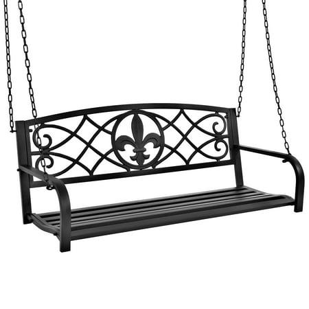 Best Choice Products Outdoor Furniture Metal Fleur-De-Lis Hanging Swing Bench w/ Weather-Resistant Steel for Backyard, Patio, Porch, Garden - Black ()