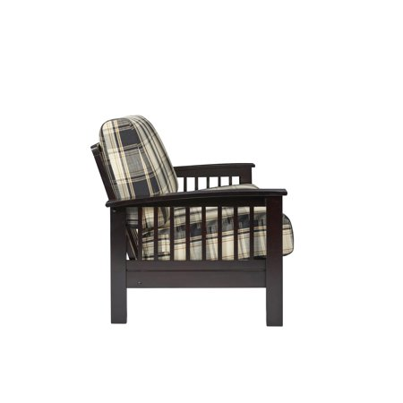 Maisie Mission Style Loveseat with Exposed Wood Frame in Brown & Black Plaid ()