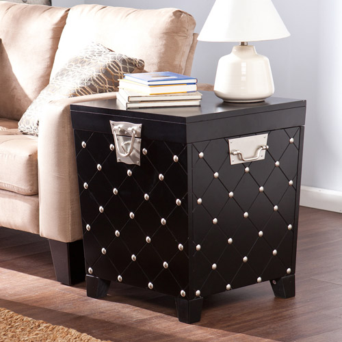 Southern Enterprises Longwood Nailhead End Table Trunk, Black/Satin Silver