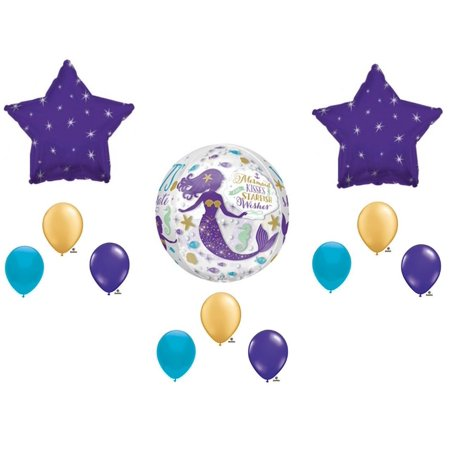 Mermaid Kisses Starfish Wishes Birthday Party Balloons Decoration Supplies Ocean - Ocean Party Supplies