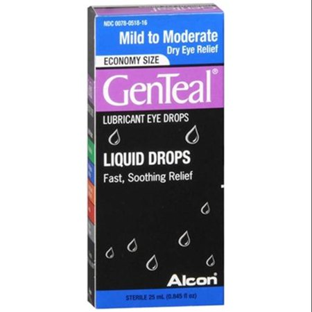 GenTeal Lubricant Eye Drops Moderate Dry Eye Relief [with GenAqua] 25 mL (Pack of 6)