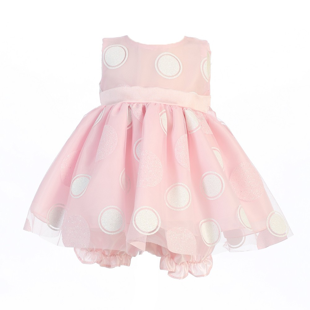 Lito Baby Girls Pink Glittered Polka Dot Easter Dress Bloomer Set 18 - 24M