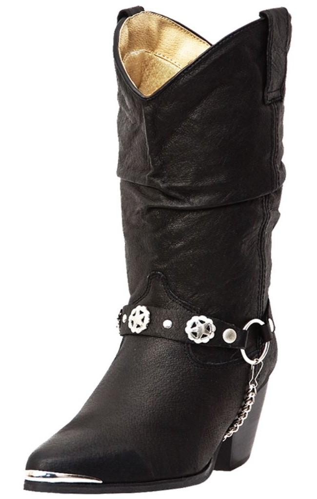 Dingo Fashion Boots Womens Leather Bailey Harness Black Pigskin DI 522 by Dingo
