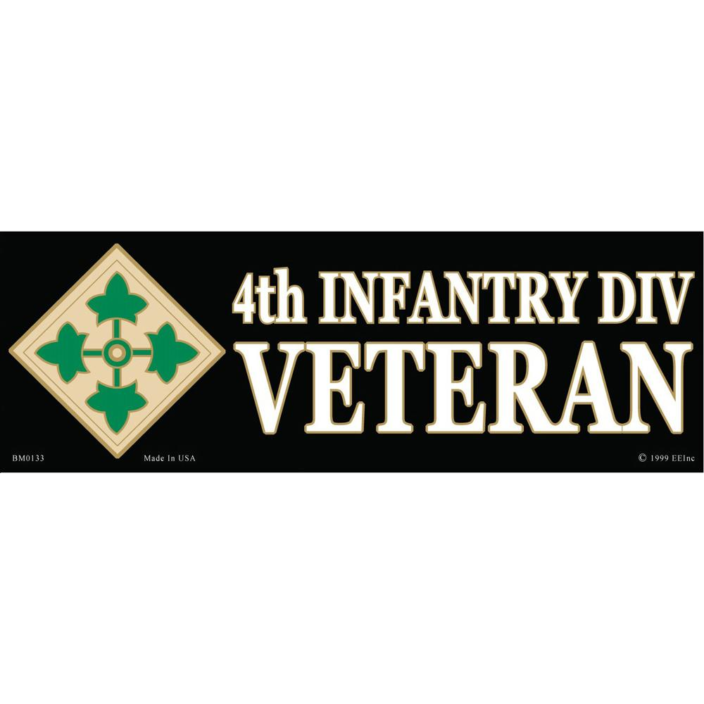 """4th Infantry Division Proudly Served Bumper Sticker 3""""X6-1/2"""""""