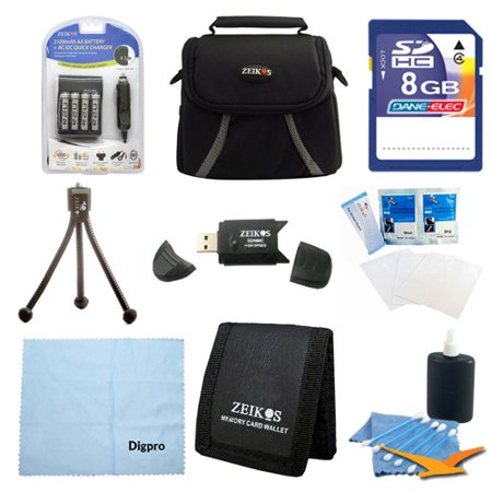 Special Digital Camera 9 pc Kit AA Rechargeable Batteries & Charger 8GB SD Card & USB Reader, Table-top Tripod, Deluxe Gadget Bag, Memory Card Wallet, Micro Fiber Cloth Lens Cleaning Kit Nikon Canon F