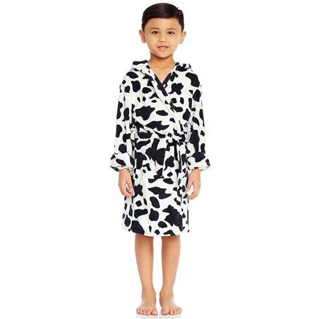 Leveret Fleece Hooded Robe Cow Black 2 Years - Brown Hooded Robe