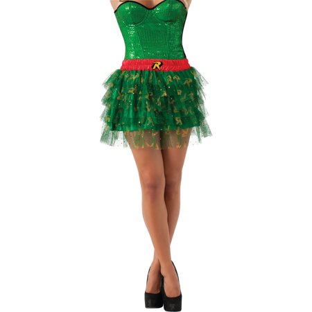Adult Womens  DC Comics Justice League Size 12 Robin Sequin Skirt - Justice League Halloween Theme
