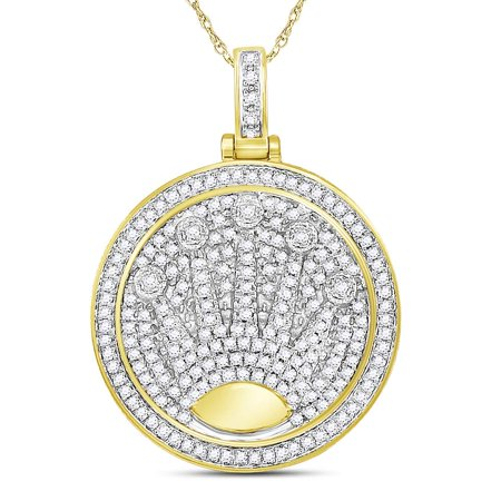 Diamond Crown Charm - 10kt Yellow Gold Mens Round Diamond King Crown Charm Pendant 7/8 Cttw