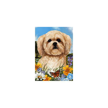 Lhasa Apso - Best of Breed  Summer Flowers Garden Flags Summer Flowers Garden Flag