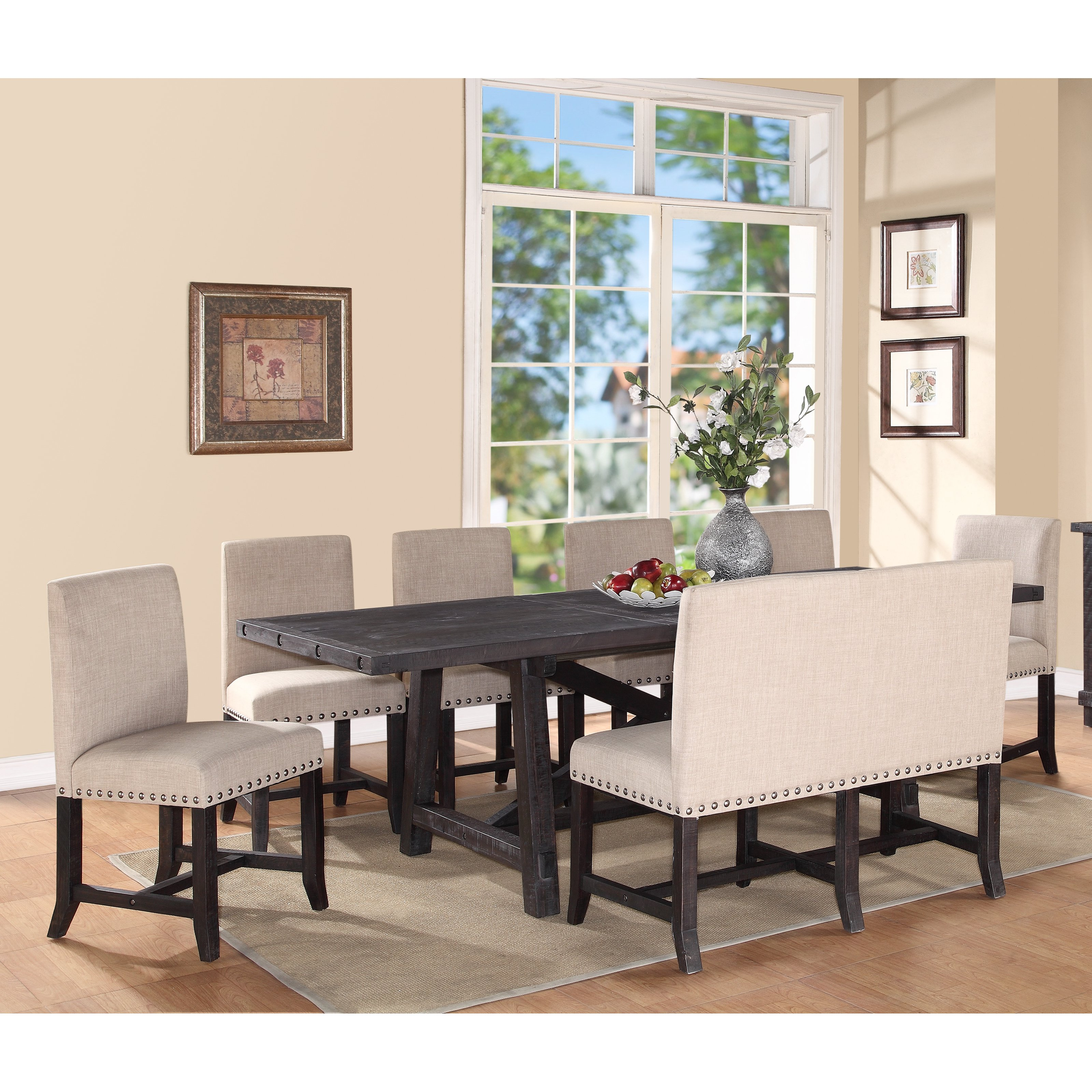 Gentil Modus Yosemite 8 Piece Rectangular Dining Table Set With Upholstered Chairs  And Settee   Walmart.com