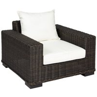 Best Choice Products Oversized Outdoor Wicker Patio Club Arm Chair w/ Aluminum Frame and White Cushion, Brown