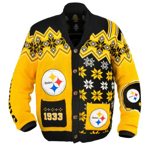Pittsburgh Steelers NFL Adult Ugly Cardigan Sweater X-Large