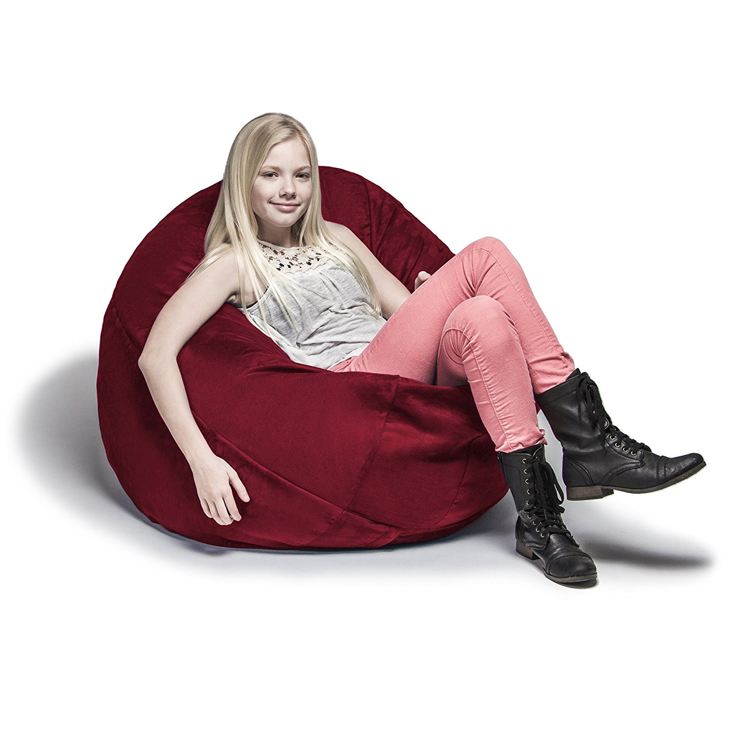 Jaxx Cocoon Jr Large 4 Foot Bean Bag For Kids Or Teens, Cherry