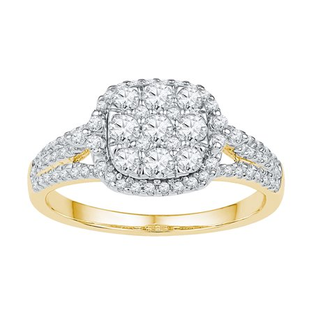 Size - 7 - Solid 10k White and Yellow Two Toned Gold Round White Diamond Engagement Ring OR Fashion Band Prong Set Square Shape Solitaire Shaped Halo Ring (3/4 cttw)