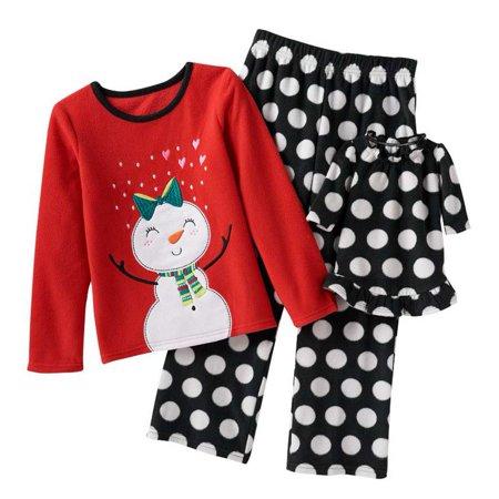 4a18ed26 Jumping Beans - Jumping Beans Girls Plush Red Polka Dot Snowman Pajamas &  Doll Nightgown Set - Walmart.com