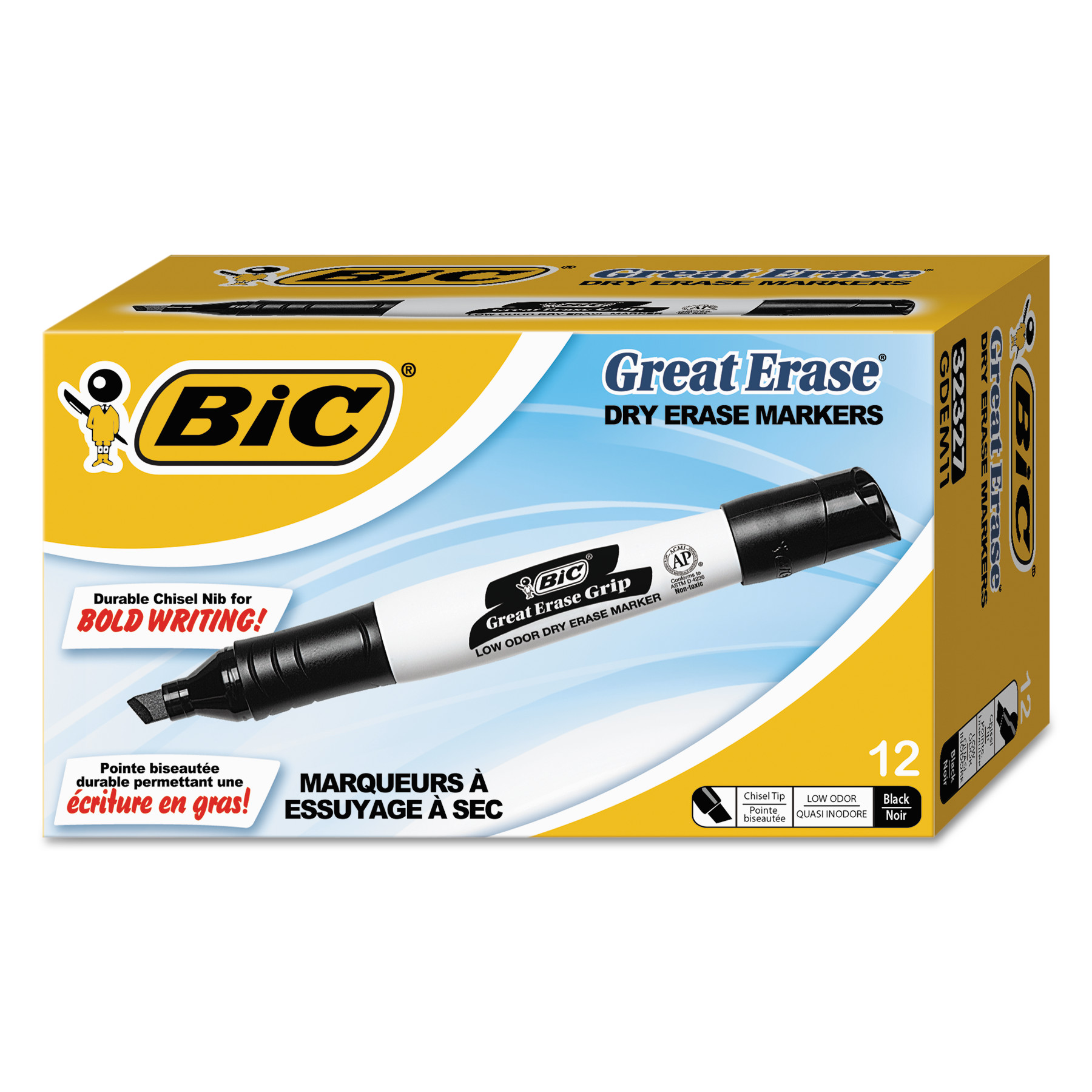 BIC Great Erase Grip Dry Erase Marker, Tank Style, Chisel Tip, Black, 12 Count by BIC USA, Inc.