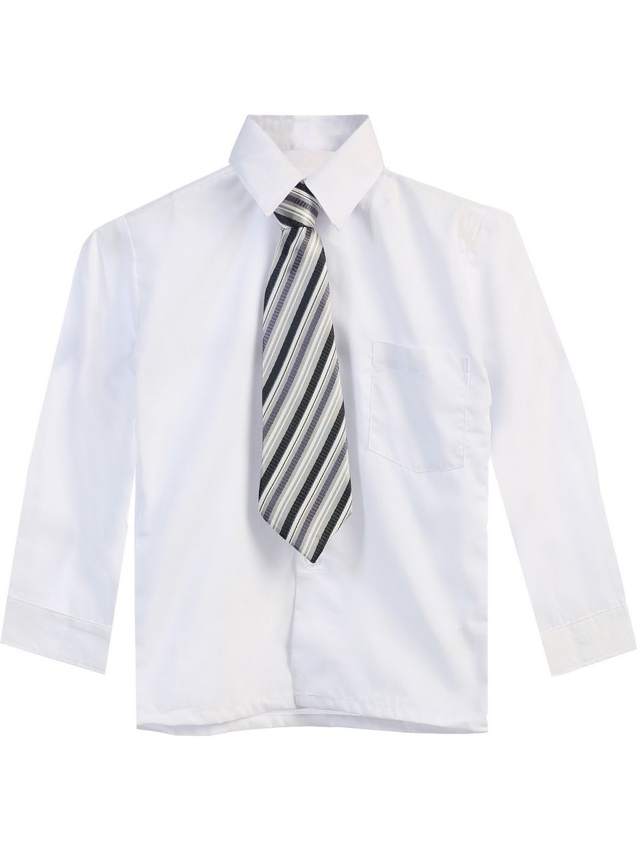 Little Boys White Tie Long Sleeve Button Special Occasion Dress Shirt 2T-7