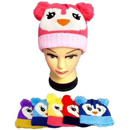 Kids Beanies Winter Caps with Cute Face & Pom Poms Hats 1Pc - Gifts   (WCK0068*) - Cute Graduation Caps