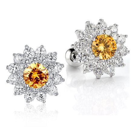 Sunflower W. Amber and Clear Round Cubic Zirconia Stud  Earrings for Women Girls White Gold Plated (Style Amber Earrings)