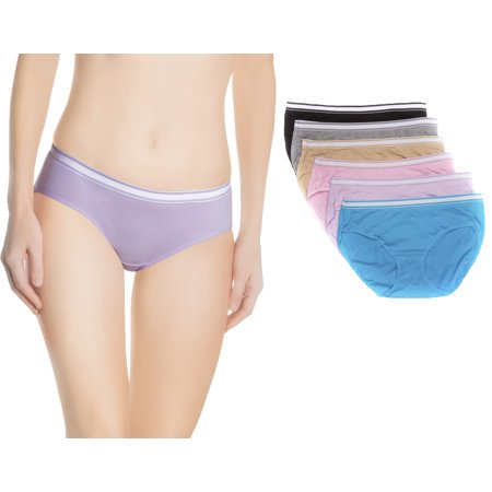 Nabtos Underwear Hipsters Panties For Women Briefs Sporty Cotton w/Waist Band Pack of 6