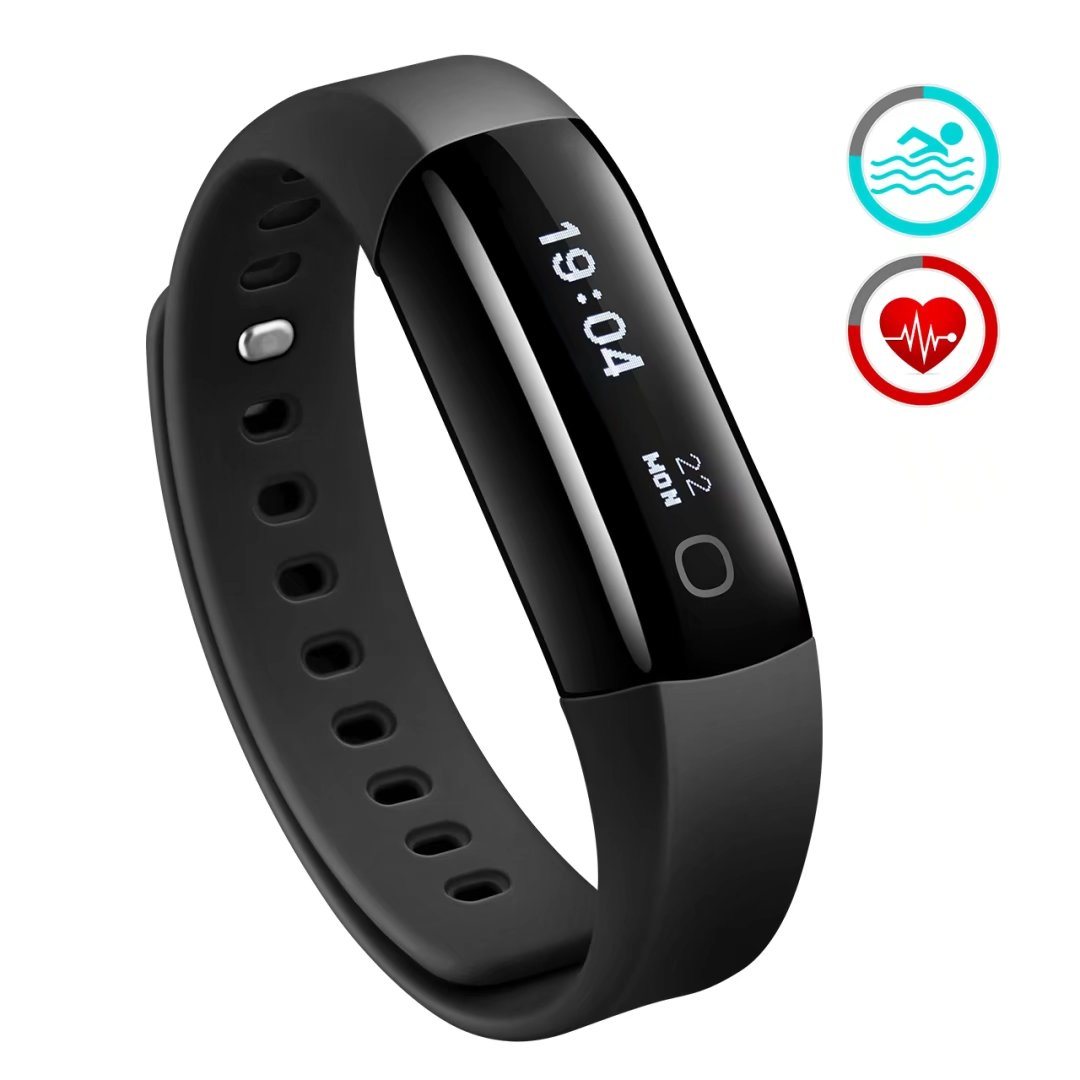 Waterproof Heart Rate Monitor Smart Swimming Fitness Bracelet Health Tracker Activity Wristband Pedometer with Running Mode for Android and iOS Smart Phones (Black)