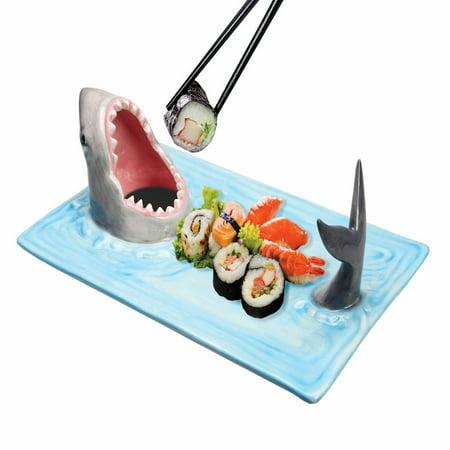 Ceramic Wedding Platter - Shark Attack Hand-Painted Ceramic Sushi Serving Platter