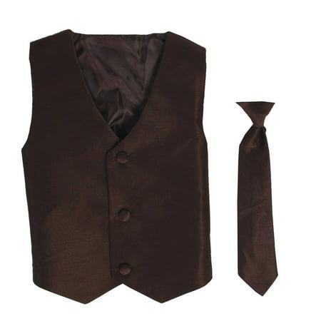 Little Boys Brown Poly Silk Vest Necktie Special Occasion Set 6/7](Silk Spectre Outfit)