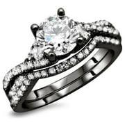 Noori Collection Noori 18K Black Gold 1 1/4ct TDW Round Diamond 2-Piece Bridal Ring Set