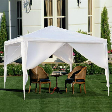 White Ez Pop Up Canopy 10x10 with 4 Sides, Waterproof Outdoor Gazebo BBQ Shelter Pavilion with Removable Sidewalls, with 4 Removable Sidewalls Sun Snow Rain Shelter Gazebo Canopy Tent,