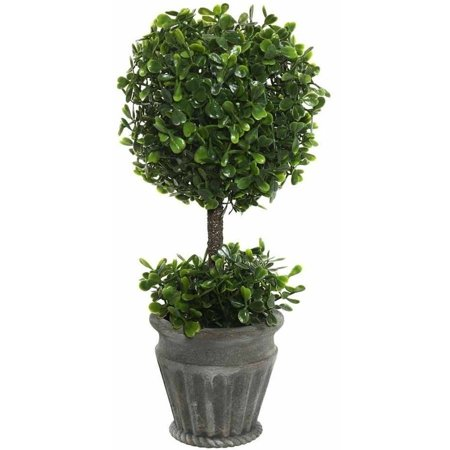 "Vickerman 13"" Artificial Green Boxwood Topiary in Container"