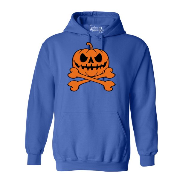 Pumpkin Cross Bones Halloween CostumeMens Womens Hoodie Sweatshirt
