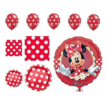 Minnie Mouse Party Supplies Classic Red Balloons Plates and Napkins 54 Pieces](Minnie Mouse Red Party Supplies)
