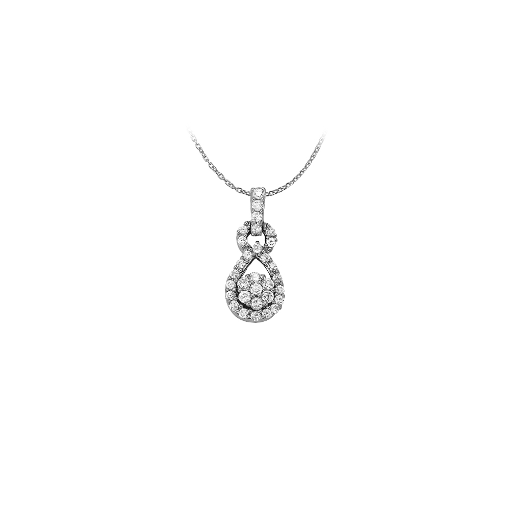 0.33 Carat Fashion Pendant with Cubic Zirconia 14K White Gold with White Gold Chain - image 2 of 2