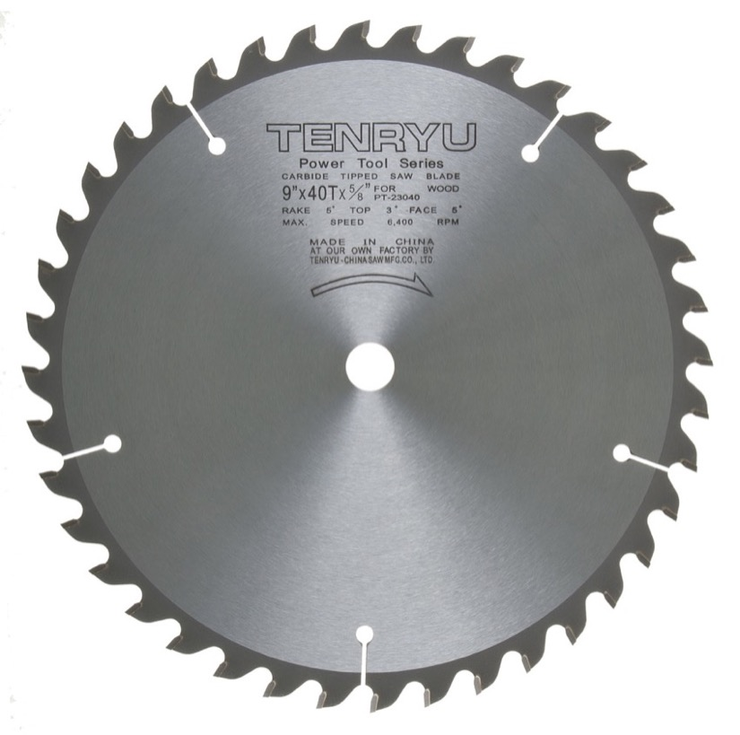 "Tenryu PT-23040 9"" Miter or Table Saw Blade 40T 5/8 Arbor"