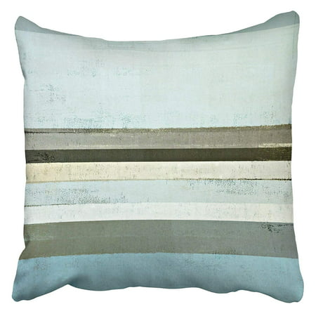 ARHOME Beige Wall Blue and Grey Abstract Painting Teal Artistic Bright Color Contemporary Pillowcase Cushion Cover 18x18 inch (Blue Contemporary Pillow)