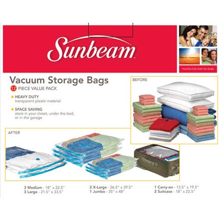Sunbeam 12 Pack Vacuum Storage Bag Value Set