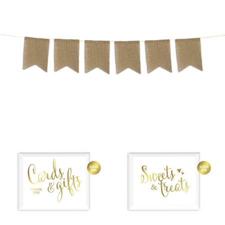 Andaz Press Real Burlap Pennant Hanging Party Banner with Gold Ink Party Signs, Pre-Strung, No Assembly Required, 1-Set](Burlap Birthday Banner)