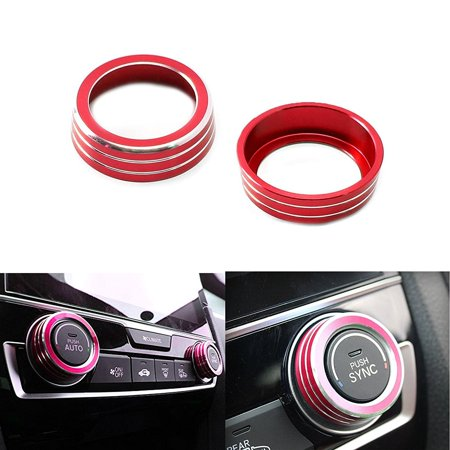 Climate Control Knobs - Xotic Tech 2x Red Anodized Aluminum AC Climate Control Ring Knob Covers For 2016-up Honda Civic