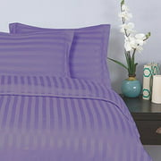 """Elegant Comfort® Wrinkle & Fade Resistant 1500 Thread Count - Damask STRIPES Silky Soft 4pc Sheet Set, Up To 16"""" Deep Pocket, Queen, Lilac"""
