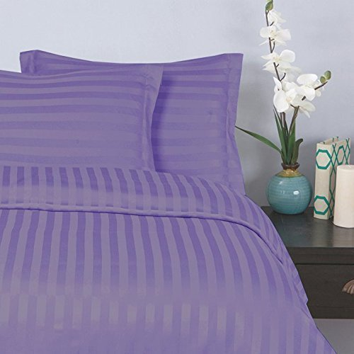 "Elegant Comfort® Wrinkle & Fade Resistant 1500 Thread Count - Damask STRIPES  Silky Soft 4pc Sheet Set, Up To 16"" Deep Pocket, Queen, Lilac"