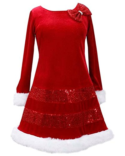 Bonnie Jean Bonnie Jean Santa Christmas Red Bow Dress