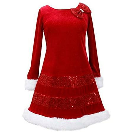 Bonnie Jean Santa Christmas Red Bow Dress Girls (10) (Santa Dress Girls)