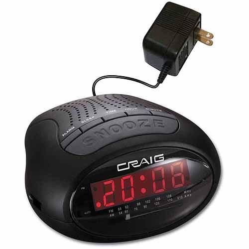 Craig CR45329B Dual Alarm Clock Digital PLL AM/FM Radio