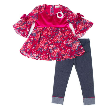 (Little Lass Floral Chiffon and Velvet Top & Knit Denim Legging, 2-Piece Outfit Set (Little Girls))
