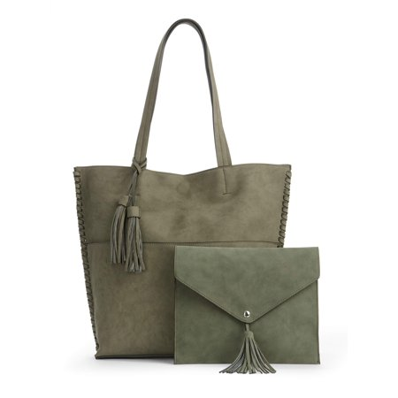 Suede Leather Tote Bag - Metallic Sky Abigail Faux Leather Tassel Tote With Faux Suede Pouch