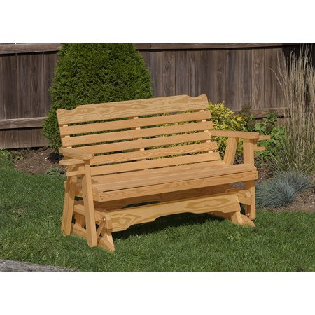 Heavy Duty Rocker Guards - Outdoor Garden Lawn Exterior Brown Finish 5 Ft Amish Heavy Duty Classic Park Style Kiln-Dried Pine Porch Glider With Cup Holders
