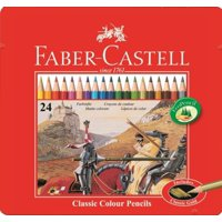 Faber-Castell Classic 24-Colour Pencils in Metal Tin Box with Faber-Castell Trio Pencil Sharpener Tub Box GRIP 2001 Silver
